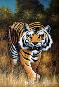 Bengal Tiger Cat Big enquadrado Espécies Ameaçadas Caça Perseguir, óleo pintado à mão Animal Art Genuine Pintura tamanho J045 Museum Quality multi