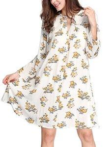 Allegra K Women's Keyhole Front Oversized Above Knee Boho Floral Swing Dress