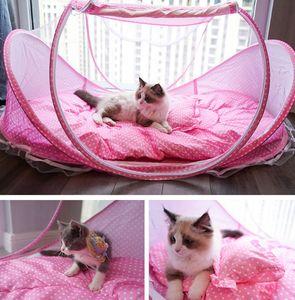 작은 개를위한 휴대용 개집 케이지 고양이를위한 고양이 고양이 넷 텐트 외부 켄넬 침대 접을 애완 동물 강아지 모기장 텐트