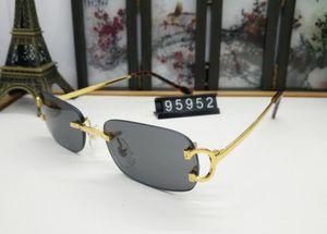 Les cadres métalliques de forme ovale hommes véritables nouvelles lunettes de soleil cerclées pilote de mode pour les hommes corne de buffle cru lunettes avec boîte rouge lunettes