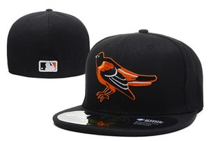 Men's Orioles Black Color On Field fitted hat flat Brim embroiered team logo fans top quality baseball Hats orioles full closed caps