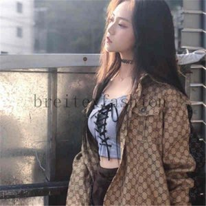 2020 New Fashion Jacket Jacquard Denim Shirt Ladies Autumn And Winter Loose Korean Matching Plaid Patchwork 4 Color