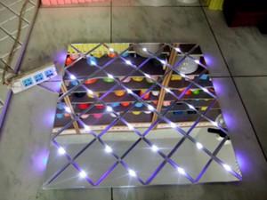 T Stazione 60CMX60CM specchio d'argento tappeto di plastica Wedding Aisle Runner luminoso Piano Bar Club decorazione fase LED Carpet