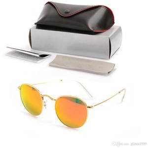Yeni Erkek Yuvarlak Güneş gözlükleri Marka Tasarımcısı Gözlük Cam Lens Kadınlar Için Güneş Gözlüğü Ayna UV koruma gözlükle ...