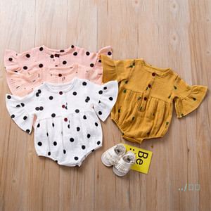 Baby Infant Romper Summer Newborn Girls Trumpet Sleeve Jumpsuits Cute Cartoon Carrot Dot Coveralls Kids Designer Climbing Clothes CZ427