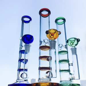 Colorful Straight Tube Glass Bong Triple Layer Honeycomb Perc Percolator Water Pipes Ice Catcher Heady Glass Oil Dab Rig Tonado Bongs WP525