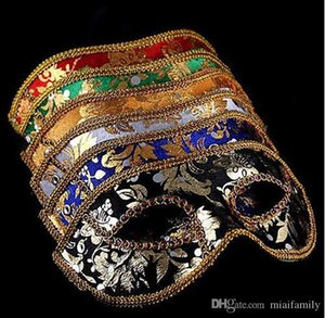 Half Face Mask Halloween Masquerade mask male Venice Italy flathead lace bright cloth masks DHL Free