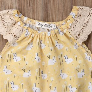 2019 Summer Easter Newborn Baby Girls Bunny Lace Bodysuit Easter Rabbit Yellow Clothes Outfit Sunsuit