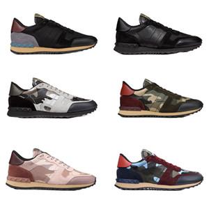 Moda rockrunner camuflagem sapatilha Studded sapatos de Grife Homens Mulheres Flats formadores de Malha De Couro Combo Rock Runner Sapatos com caixa