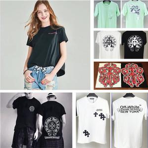 I nuovi uomini delle donne di modo maglietta ChromeHearts Hip Hop cotone da uomo fuori Abbigliamento T-shirt fan Collare curvo usura manica corta estate
