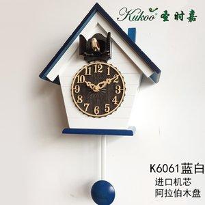 Wood Cuckoo Clock Mechanism Bird Living Room Pendulum Clock Wall Bell Garden Modern Bedroom Decor Gift Bathroom Clock Scenic 50