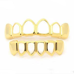 Mens Hip Hop Зубы Grillz Наборы Topsbottom Hollow Smooth Золото Серебро Стоматологический Грили для женщин Рок Мода ювелирные изделия тела Аксессуары