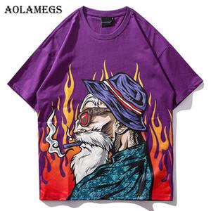 Aolamegs T 셔츠 남자 일본어 인쇄 남자 티 셔츠 O 목 T 셔츠 면화 패션 힙합 커플 스트리트 티즈 Streetwear Y19060601