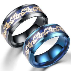 Joyería del anillo azul negro Hombres tradicional china del dragón del oro con incrustaciones de acero inoxidable azul manera de los anillos