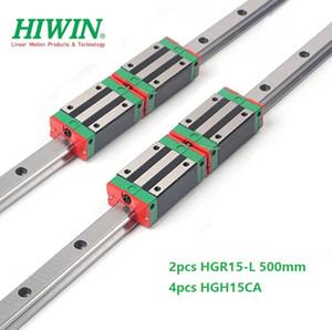 2 pz Originale Nuovo HIWIN HGR15 - 500mm guida lineare / ferroviario + 4 pz HGH15CA lineare blocchi stretti per parti del router di cnc