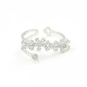 Plata CR joyería s925 CZ florece diseño de anillo de la perla Accesorios / Accesorios / Accesorios de montaje para las mujeres joyería de bricolaje PS4MJZ059