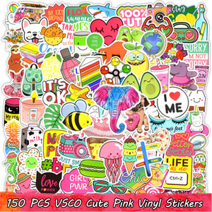 150 PCS VSCO Waterproof Cute Pink Vinyl Stickers Bomb Water Bottle Laptop Phone Case Skateboard Motorcycle Guitar Graffiti Teens Girls Decal