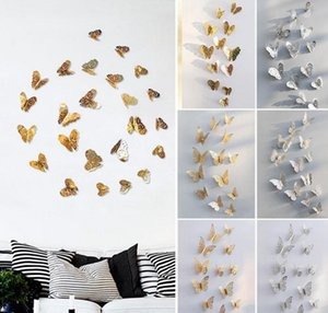 3D Hollow Butterfly Art Стены Стикеры Спальня Гостиная Home Decor Дети DIY Украшения 12 шт. / Компл.
