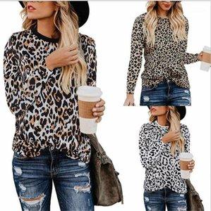 Long Neck Sleeve Womens Tops Casual Primavera Outono Feminino Roupa Moda Leopard Impresso Womens T-shirts Tripulação