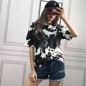 TOP-quality Summer Pure Cotton Cow Print Crewneck T-shirts Relaxed-Fit men's women's Casual short-sleeve Tees
