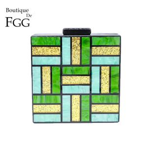 Boutique De FGG Multi-Green Plaid Mujeres Acrílico Bolsos de Noche Caja de Embrague Bolso Señoras Cadena de Moda Hombro Crossbody Bolsa