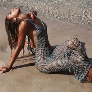 2019 donne ha lavorato a maglia a rete Bikini SPIAGGIA DI OCCULTAMENTO Abito tunica Long Hollow Out Beach Wear Pareo Sexy Crochet Cover-up costume da bagno MX200324