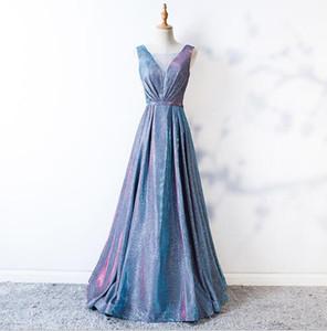 2019 zuhair murad Sparkle Reflective Sequined Prom Dress 리얼 이미지 Deep V 넥 섹시한 A 라인 홀터 Long Evening Gowns