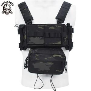 SINAIRSOFT táctico del pecho del aparejo Micro Lucha chissis 3 Pecho caza de combate Chaleco Con 5,56 Mag bolsa multicámara