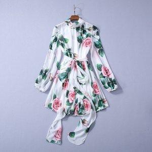 2020 Frühling-neuester Luxus Langarm Rundhals Floral Rose Druck-Chiffon- Band-Bindung Bogen Belted kurzes Minikleid Runway Kleider A022256326