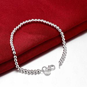 Charm Bracel Magnifiquement plaqué argent bijoux bracelet perle lisse sauvage dame joli mode des bijoux de haute qualité chaîne Charm Bracelet perles