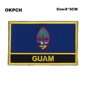 GUAM Rechteckige Form Flag Patches bestickt Flagge Patches Nationalflagge Patches für Kleidung DIY Dekoration PT0256-R