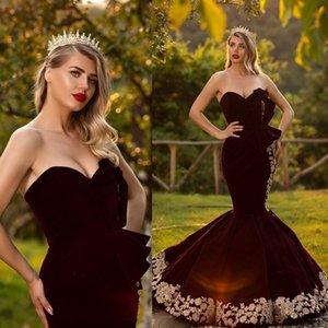 Manches sirène soir Dressess bretelles perles robe de velours Appliques de bal Designer Custom Made balayage train Robes De Soirée