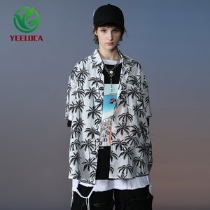Dropship Shirt Button for Men Women Beach Short Sleeve 2020 Summer Vacation Leisure Fashion Clothes Oversized Coconut Tree