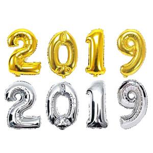 2019 Ano Novo Decoração de Festa Número Foil Balloon Gold Silver compras para casa acessórios de decoração quarto queda