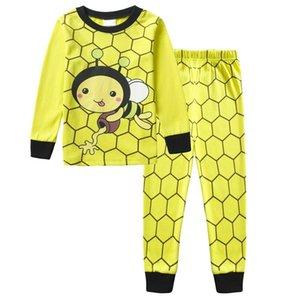 2019 النحل الأصفر طفلة بيجاما من القطن منامة الدعاوى القمصان والسراويل ملابس الأطفال