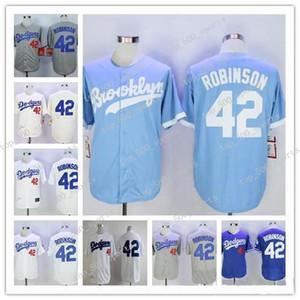 브루클린 라 저지 # 42 Mn Jersey Jackie Robinson 화이트 블랙 블루 1955 스티치 로스 앤젤레스 유니폼