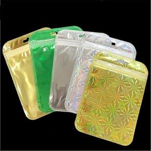Traslucido Laser Pouch Bag Oro Argento imballaggi in plastica busta richiudibile singola confezione sacchetto di imballaggio al dettaglio Sacchetti