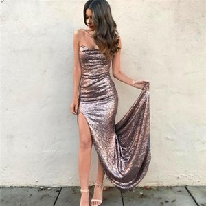 Sexy Sweetheart Front Split Sheath Sparkle Long Sequined Evening Prom Dresses Strapless Long Party Pageant Gowns