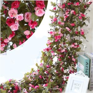240 CM Decoraciones de la boda Artificial de seda falsa rosa flor vid colgando guirnalda decoración del hogar decoración flores guirnaldas al por mayor H119