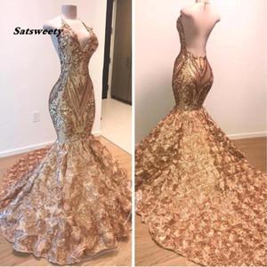 Африканское золото Mermaid платье выпускного вечер 2020 Холтер V шеи 3D цветы рукавов вечернего платья Длинных Arabic Дубай партия мантии