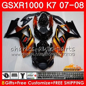 Corps pour SUZUKI GSXR-1000 GSX-R1000 GSXR1000 07 08 orange noir HOT Carrosserie 12HC.9 GSX R1000 07 08 K7 GSXR 1000 2007 2008 Kit carénage complet