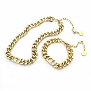 D harfi paslanmaz çelik bilezik ve kolye setleri moda zinciri ile lüks tasarım takı kadın kolye Altın Kalın Zincir kolye