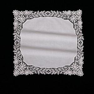 D601: Kadınlar / bayanlar düğün hediyesi için Beyaz prim pamuk dantel mendiller boş tığ hankies