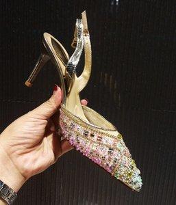 Frühling Sommer Strass High Heels Schuhe Frau Slingbacks Hochzeit Schuhe Braut Spitze Partei Zapatos Mujer Tacon Bling Frauen Pumps
