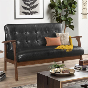 Modern Solid Loveseat Sofa Upholstered PU Leather 2 Seat Couch Black Furniture US Warehouse In Stock