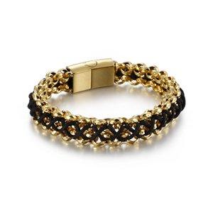 Moda Erkekler frenlemek Zincir Gümüş Renk Altın Titanyum Çelik El Siyah Halat zincir twist Bilezikler Pulseras Mücevher örme