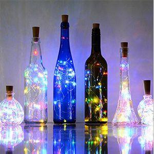 2M 20 LEDS Weinflasche beleuchtet mit Cork errichtet in der Batterie LED Cork Form-Silber-Kupferdraht Bunte Fairy Mini-Schnur-Lichter