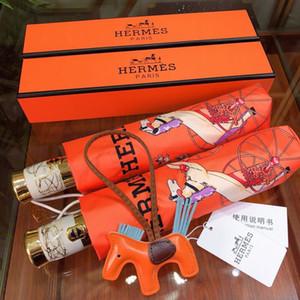 Cavalo Imprimir Umbrella Alloy esqueleto Automatic Folding Umbrella Outdoor Proteção UV à prova de chuva à prova de vento Designer Umbrella frete grátis