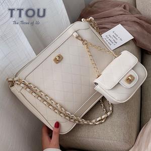 TTOU Mode 2 pièces de luxe de Diamond Lattice Sac à main Set Qualité chaîne en cuir femmes design classique Sacs grande épaule Cadeaux