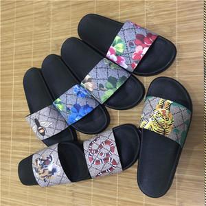 Top Herren Damen Sandalen mit korrektem Blumenkasten Staubbeutel Designer Schuhe Schlangendruck Luxus Rutsche Sommer Breit Flache Sandalen Slipper 36-45